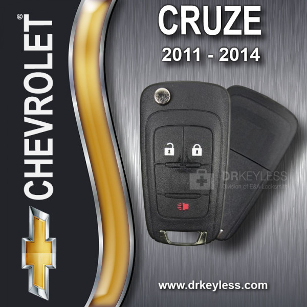 Aftermarket Chevrolet Cruze High Security Remote Flip Key Shell - 3B / 2011 - 2014