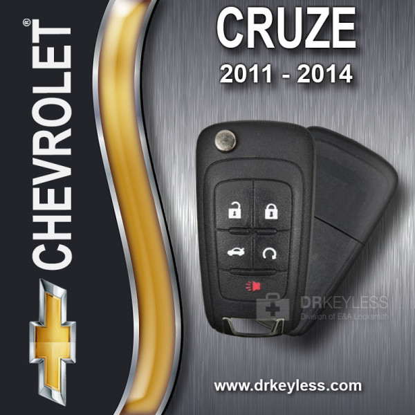Chevrolet Cruze High Security Remote Flip Key Shell - 5B / 2011 - 2014