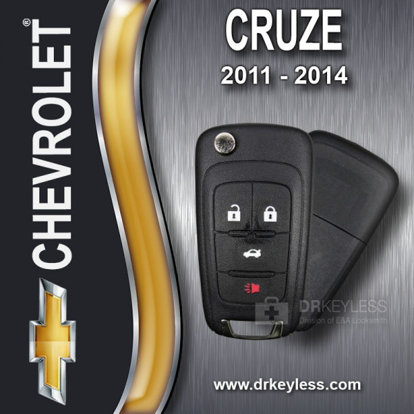 Aftermarket Chevrolet Cruze High Security Remote Flip Key Shell / 2011 - 2014