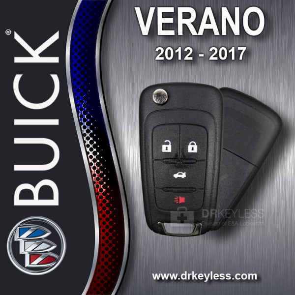 Aftermarket Buick Verano High Security Remote Flip Key Shell / 2012 - 2017