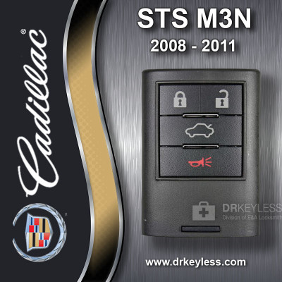 Cadillac Memory 2 STS Smart Key 4B Trunk / Remote Start - M3N5WY7777A 2008 - 2011
