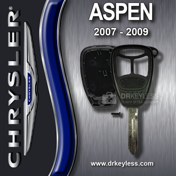 Aftermarket Chrysler Aspen Remote Head Key Shell 3 Button with Panic / 2007 - 2009