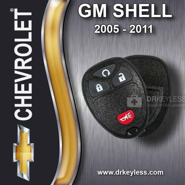 Chevrolet HHR Keyless Entry Remote Shell with 4B Starter Rubber Pad for 15114374 KOBGT04A 2006 - 2011
