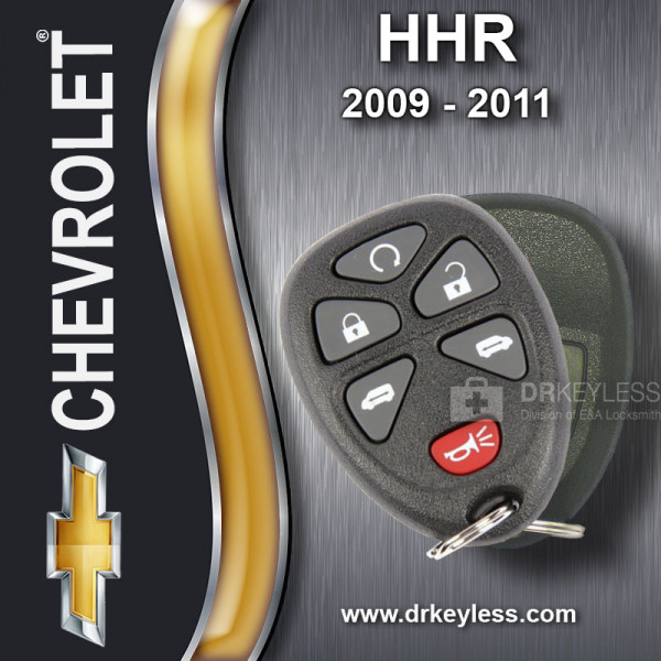 Chevrolet HHR Keyless Entry Remote Shell with 6B Starter / Power doors Rubber Pad for 15114376 KOBGT04A 2009 - 2011